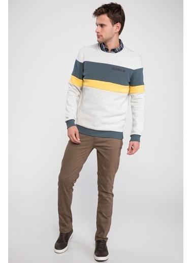 DeFacto Renk Bloklu Sweatshirt Bej